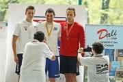 Víťazi 100 m voľný spôsob zľava Vladimír Štefánik, Gergő Kis, Michal Navara